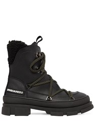 Dsquared 40Mm Faux Leather Lace Up Hiking Boots Black