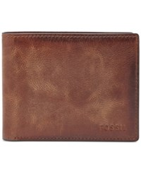 Fossil Derrick Rfid Blocking Flip Id Billfold Brown