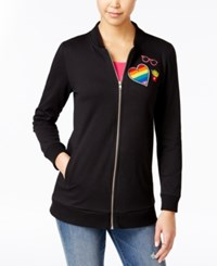Almost Famous Juniors' Patch Trim Tunic Bomber Jacket Black