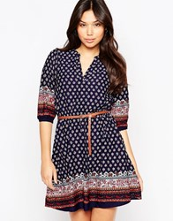 Yumi Belted Dress With 3 4 Sleeves In Border Print Navy
