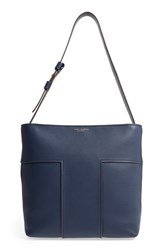 Tory Burch Block T Pebbled Leather Hobo Blue Royal Navy