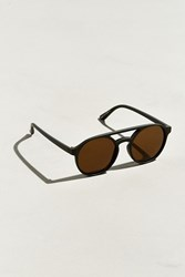 Urban Outfitters Uo Plastic Brow Round Sunglasses Olive