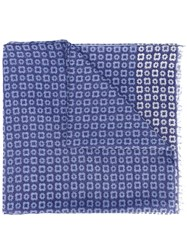 Corneliani Printed Scarf Men Silk Cotton One Size Blue