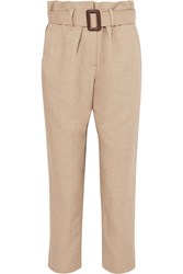 Brunello Cucinelli Belted Linen And Cotton Blend Tapered Pants Beige