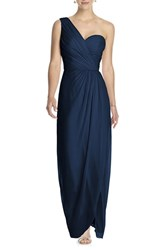 Women's Dessy Collection One Shoulder Draped Chiffon Gown Midnight