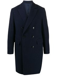 Massimo Piombo Mp Herringbone Wool Coat Blue