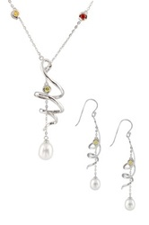 7 8Mm Freshwater Pearl And Multicolor Gemstone Spiral Necklace And Earrings Set White