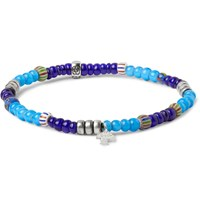 Peyote Bird Burnished Sterling Silver And Glass Bead Bracelet Blue