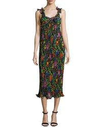 3.1 Phillip Lim Sleeveless Floral Pleated Midi Dress Black Multicolor Blk Multi