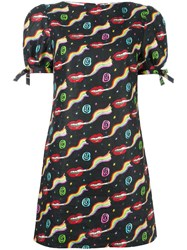 Olympia Le Tan Smoking Lips Print Mini Dress Black