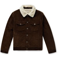 J.Crew Wallace And Barnes Fleece Lined Cotton Corduroy Trucker Jacket Brown