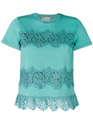 Red Valentino Lace Applique T Shirt Women Polyamide Viscose S Green