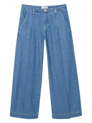 Mango Palazzo Denim Trousers Open Blue