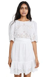 Rebecca Taylor La Vie Short Sleeve Sarcelle Dress Milk