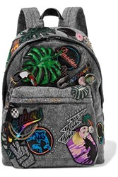 Marc Jacobs Paradise Biker Embellished Denim Backpack Dark Gray