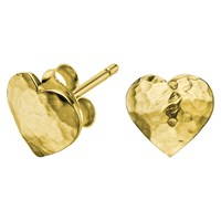 Dower And Hall Hammered Flat Heart Earrings Gold