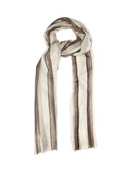 Brunello Cucinelli Striped Cashmere Scarf White