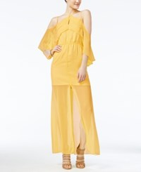 Xoxo Juniors' Ruffled Off The Shoulder Party Dress Yellow