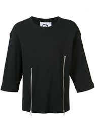 Chapter 'Liam' Zip Front T Shirt Black