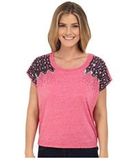 Rock And Roll Cowgirl Dolman Knit 47 6047 Hot Pink Women's Short Sleeve Pullover