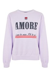 Topshop Embroidered 'Amore' Sweat Top Lilac