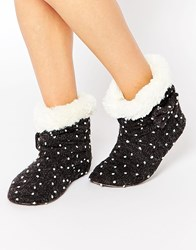 Totes Spot Knit Bow Bootie Slippers Grey