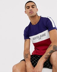 Sixth June T Shirt In Navy With Cut And Sew Logo