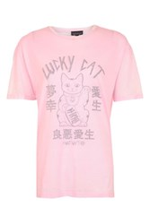 Topshop Lucky Cat Destroyed T Shirt Pink