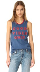 Spiritual Gangster Good Vibes Only Rocker Tank Navy