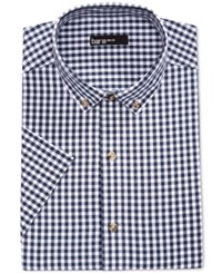 Bar Iii Men's Slim Fit Navy And White Gingham Short Sleeve Dress Shirt Only At Macy's