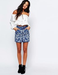 Glamorous Denim Skirt With Floral Embroidery Mid Blue Embroidery