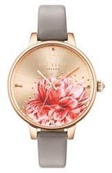 Ted Baker London Kate Leather Strap Watch 36Mm Grey Floral Rose Gold