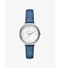 Cinthia Silver Tone And Embossed Leather Watch
