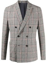 Emporio Armani Plaid Double Breasted Suit Jacket 60