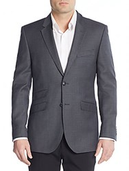 English Laundry Micro Check Wool Blazer Charcoal