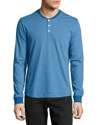 Penguin Long Sleeve Striped Henley Tee Classic Blue