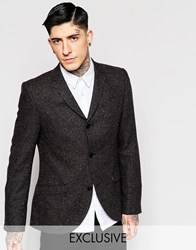 Heart And Dagger 3 Button Blazer With Coloured Fleck In Super Skinny Fit Brown