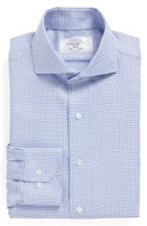 Lorenzo Uomo Men's Big And Tall Trim Fit Check Dress Shirt Light Blue Navy
