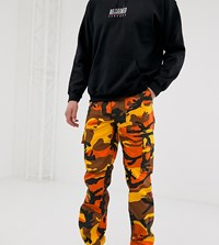 Reclaimed Vintage Revived Camo Cargo Trousers In Orange