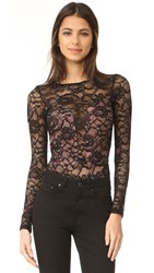 Fleur Du Mal Chat Noir Lace Long Sleeve Bodysuit Black