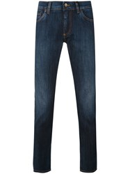 Dolce And Gabbana Slim Fit Jeans Men Cotton Calf Leather Spandex Elastane Zamac 48 Blue