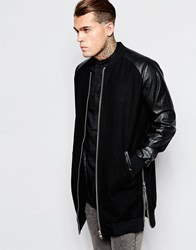 Asos Wool Bomber Jacket With Zip Detail Black
