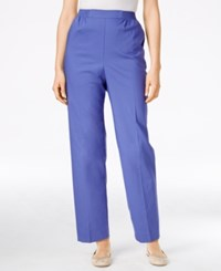 Alfred Dunner Petite Straight Leg Pull On Pants Iris