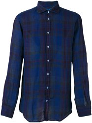 Massimo Alba Plaid Shirt Blue
