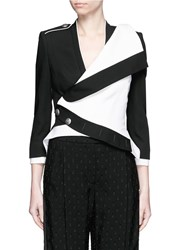 Alexander Mcqueen Colourblock Wool Silk Military Jacket Black White