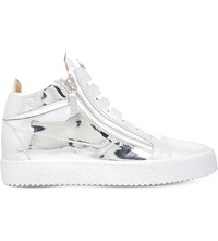 Giuseppe Zanotti Metallic Panelled Leather High Top Trainers Silver