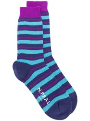 N.Peal Striped Socks Blue