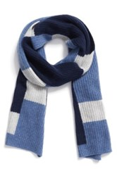 Halogen Colorblock Knit Cashmere Scarf Blue