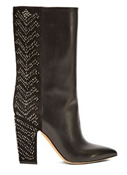Valentino Long Sequin Embroidered Boots Black