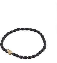 Luis Morais Beaded Skull Bracelet Black Gold